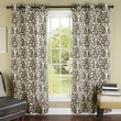 m.style Ikat Plume Poly Linen Textured Cloth Grommet Curtain Panel  (Set of 2); Coffee/Bronze