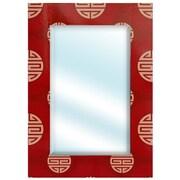 Oriental Furniture Lacquer Shou Rectangular Mirror