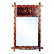 Oriental Furniture Hand Painted Bamboo Wall Mirror