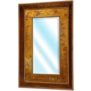 Oriental Furniture Wide Wall Mirror; Antique Gold Leaf Lacquer