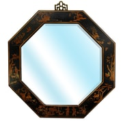 Oriental Furniture Octagonal Wall Mirror; Black Lacquer