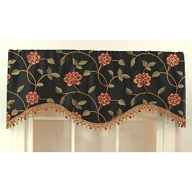 RLF Home Stella 50'' Curtain Valance; Black