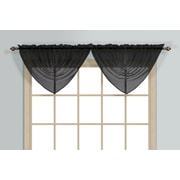 United Curtain Co. Monte Carlo Waterfall 60'' Curtain Valance; Black