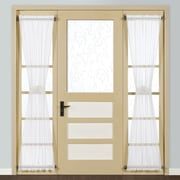 United Curtain Co. Monte Carlo Sidelight Rod Pocket Single Curtain Panel; White