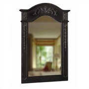 Belle Foret Single Carved Portrait Wall Mirror; Black