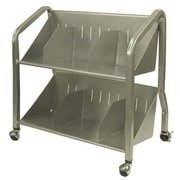 Buddy Products 2 Shelf Sloped Book Cart; Silver