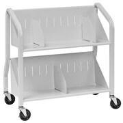 Buddy Products 2 Shelf Sloped Book Cart; Platinum