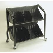 Buddy Products 2 Shelf Sloped Book Cart; Black
