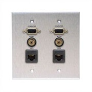Comprehensive Wallplate with 2 VGA, 2 Stereo Mini, and 2 RJ-45 Connectors; Passthru