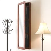 Wildon Home   Bullock Wall Mounted Jewelry Armoire with Mirror; Burgandy Cherry