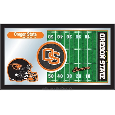 Holland Bar Stool NCAA Football Mirror Framed Graphic Art; Oregon State