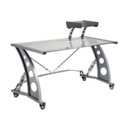 Pit Stop Furniture Racing Style Desk with Glass Top and Glass Spoiler Shelf; Clear