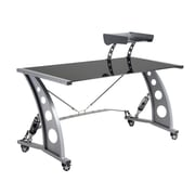 Pit Stop Furniture Racing Style Computer Desk with Glass Top and Glass Spoiler Shelf; Black