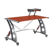 Pit Stop Furniture Racing Style Computer Desk with Glass Top and Glass Spoiler Shelf; Red