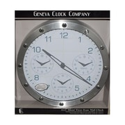 Geneva® 4634G 13.7 Multi-Time Zone Metal Wall Clock, Metal Silver