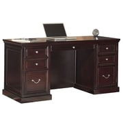 Kathy Ireland Home by Martin Furniture Fulton Space Saver Pedestal Executive Desk, Espresso (FL660)