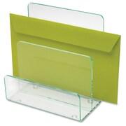 Lorell Acrylic Transp Green Edge Mini File Sorter, Clear Green