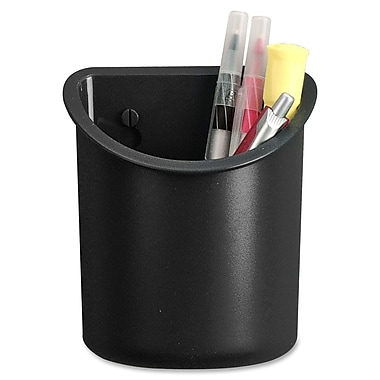 Lorell Recycled Plastic Mounting Pencil Cup, Black