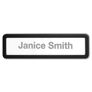 Lorell Recycled Plastic Cubicle Nameplate, Black