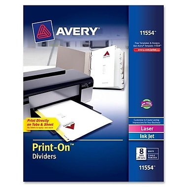 AveryMD – Intercalaires personnalisables Print-OnMC, 9 1/2 x 11 po, Intercalaire blanc, 25/bte