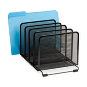 """Rolodex Expressions 5-Compartment Mesh Stacking Sorter, 7-1/2""""(H) x 8-1/2""""(W) x 14-3/10""""(D), Black"""