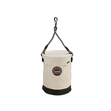 Ergodyne® Arsenal® Leather Bottom Bucket W/Swivel Handle and Top, White, 17
