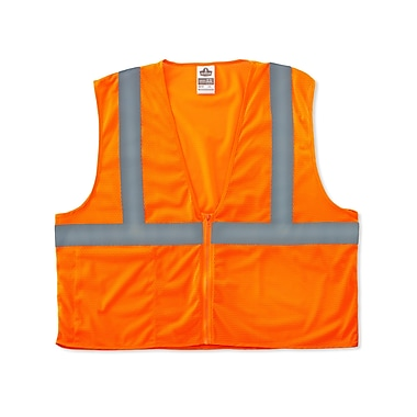 Ergodyne GloWear® Class 2 Economy Vest; Polyester Mesh, 2XL/3XL Size, Zipper, Orange