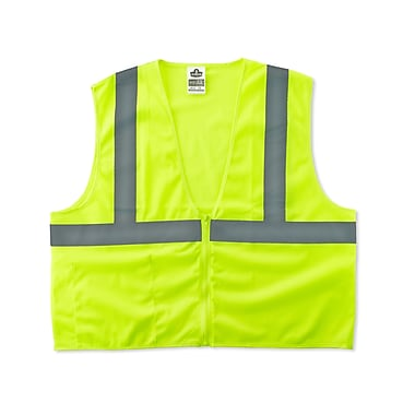 Ergodyne GloWear® Class 2 Economy Vest; Polyester Mesh, 2XL/3XL Size, Zipper, Lime