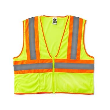 Ergodyne® GloWear® 8229Z Class 2 Hi-Visibility Economy Two-Tone Vest, Lime, 4XL/5XL
