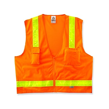 Ergodyne® GloWear® 8250ZHG Class 2 Hi-Gloss Surveyors Vest, Orange, Large/XL