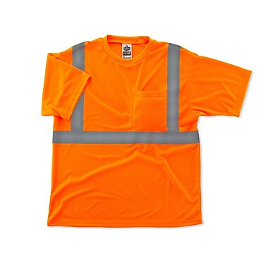 Ergodyne® GloWear® 8289 Class 2 Hi-Visibility Safety T-Shirt, Orange, Large