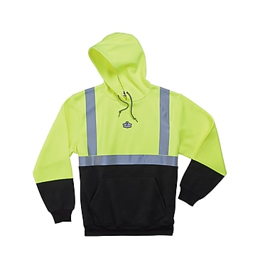 Ergodyne® GloWear® 8293 Class 2 Hi-Visibility Hooded Sweatshirt, Lime/Black, Small