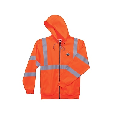 Ergodyne® GloWear® 8392 Class 3 Hi-Visibility Zipper Hooded Sweatshirt, Orange, Large