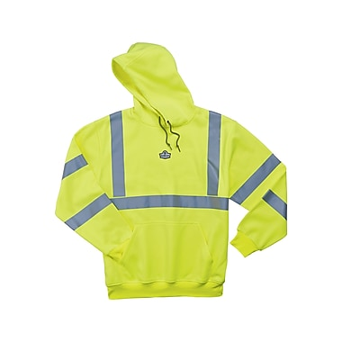Ergodyne® GloWear® 8393 Class 3 Hi-Visibility Hooded Sweatshirt, Lime, Small