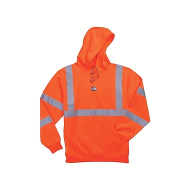 Ergodyne® GloWear® 8393 Class 3 Hi-Visibility Hooded Sweatshirt, Orange, 5XL