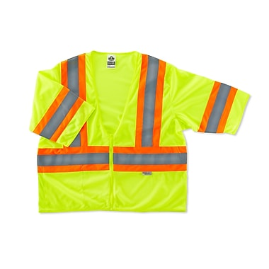 Ergodyne® GloWear® 8330Z Class 3 Hi-Visibility Two-Tone Vest, Lime, Large/XL