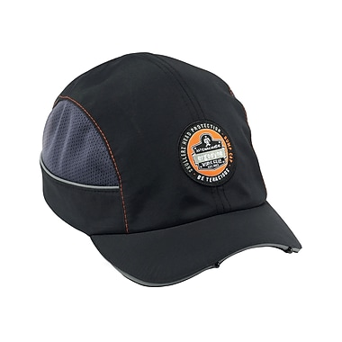 Ergodyne® Skullerz Nylon Taslan Short Brim Bump Cap With LED Lighting Technology, Black