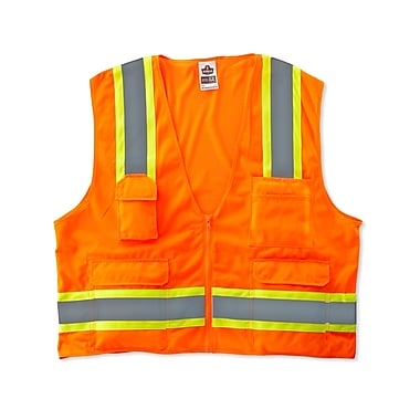 Ergodyne® GloWear® 8248Z Class 2 Hi-Visibility Two-Tone Surveyors Vest, Orange, Small/Medium
