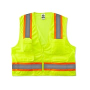 Ergodyne® GloWear® 8248Z Class 2 Hi-Visibility Two-Tone Surveyors Vest, Lime, Small/Medium