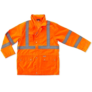 Ergodyne® GloWear® 8365 Class 3 Hi-Visibility Rain Jacket, Orange, XL