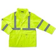 Ergodyne® GloWear® 8365 Class 3 Hi-Visibility Rain Jacket, Lime, Small