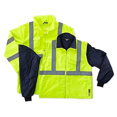 Ergodyne® GloWear® 8385 Class 3 Hi-Visibility 4-in-1 Jacket, Lime, 4XL