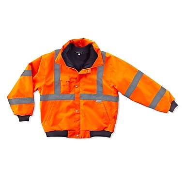 Ergodyne® GloWear® 8380 Class 3 Hi-Visibility Bomber Jacket, Orange, Small