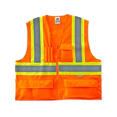 Ergodyne® GloWear® 8235ZX Class 2 Hi-Visibility Two-Tone X-Back Vest, Orange, 2XL/3XL