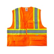 Ergodyne® GloWear® 8235ZX Class 2 Hi-Visibility Two-Tone X-Back Vest, Orange, 4XL/5XL