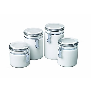 Anchor Hocking® 4 Piece Ceramic Canister Set With Clamp Top Chrome Lids