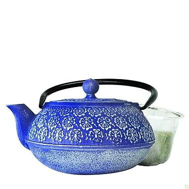 Primula® PCI-4340 40 oz. Floral Cast Iron Teapot, Blue
