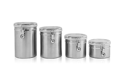 Ragalta 4 Piece Stainless Steel Canister Set With Airtight Acrylic Lids 44495