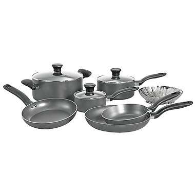 T-fal® Initiatives 10 Piece Dishwasher Safe Nonstick Aluminum Cookware Set, Gray