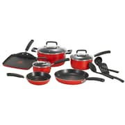 T-fal® Signature Total 12 Piece Nonstick Aluminum Cookware Set, Red